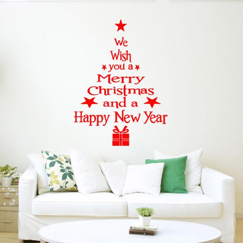 3 farben 2016 neue ankunft weihnachtsbaum briefe kleben wandkunst aufkleber wandhaupt room dekoration baum wandaufkleber dropship - Dekoration Baum