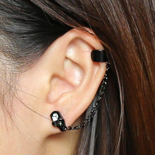 Earrings Clip Earrings Nightclub Gothic Punk Skull Ear Cuff Earrings For Women Gold-color Skeleton Bone Hand Clip On Earrings Halloween Gift 1pc Elegant Shape