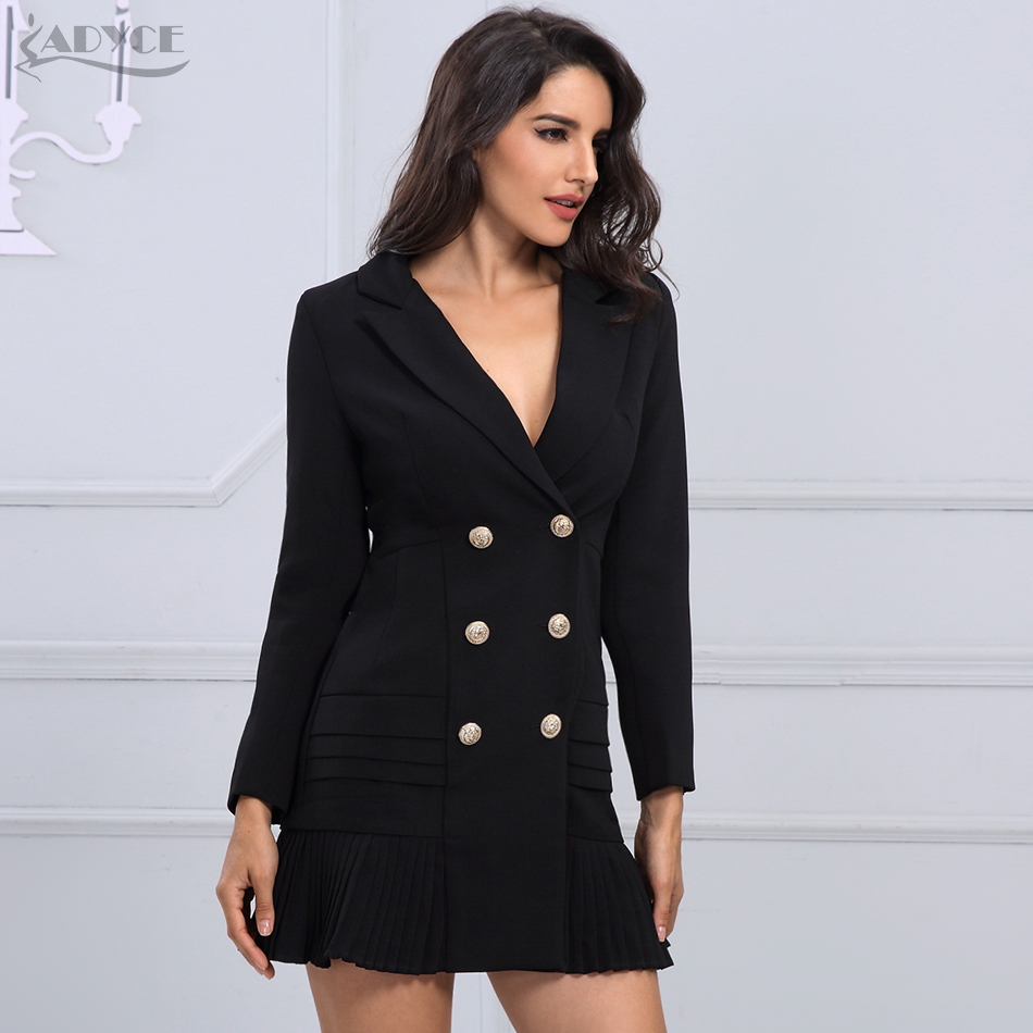 Adyce 2019 New Women Formal Double Breasted   Trench   Coat Black Glod Button Full Sleeve Skirt Style Pleated Long Style Women Coat
