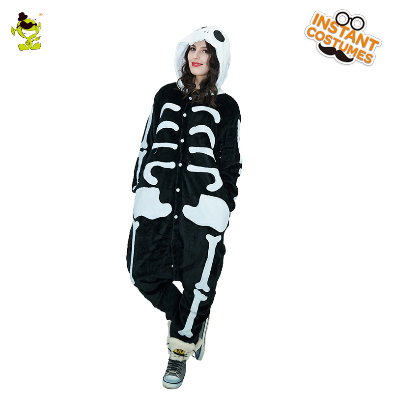 Adult Woman Skeleton pajamas Costumes Women Cosplay Fancy Dress for Carnival Party Role Play Dressup Lady's Sleepwear Costume