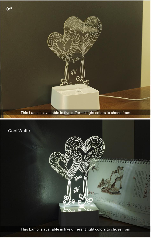 Novel USB Led Lights Loving Heart 3d Touch Home Decor Table Lamp (3)