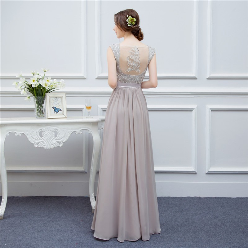 silver grey cap sleeve high quality applique floor length long chiffon bridesmaid dress wedding event dress maid of honor 6