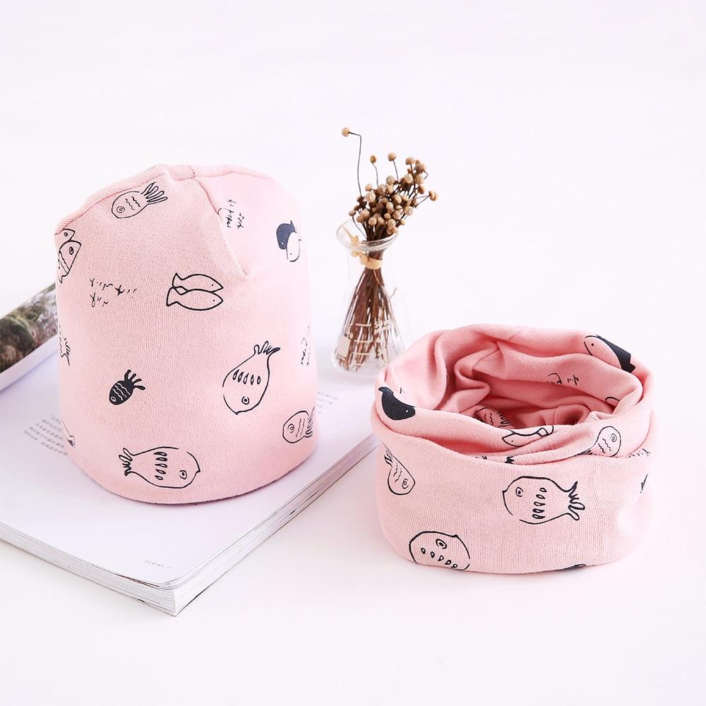 Hat Scarf Set Baby Hat Cotton Scarf Spring Infant Caps Beanies Cartoon Fish Print Autumn Winter