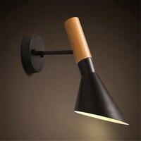 Черный/белый цвет 1 головка светодио дный настенный светильник творческий настенный светильник деревянные бра E27 Спальня освещения лампа д
