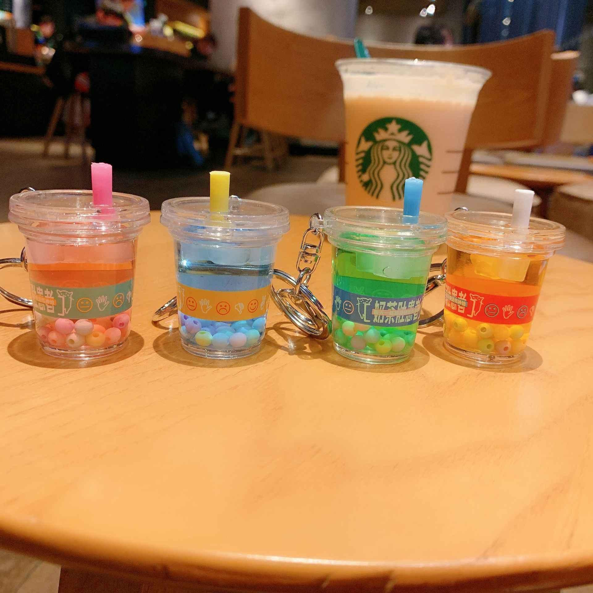 Creativo Mini llavero de bebida suave Leche de Coco té bebida burbuja té acrílico movimiento líquido aceite gota descompresión joyería regalo
