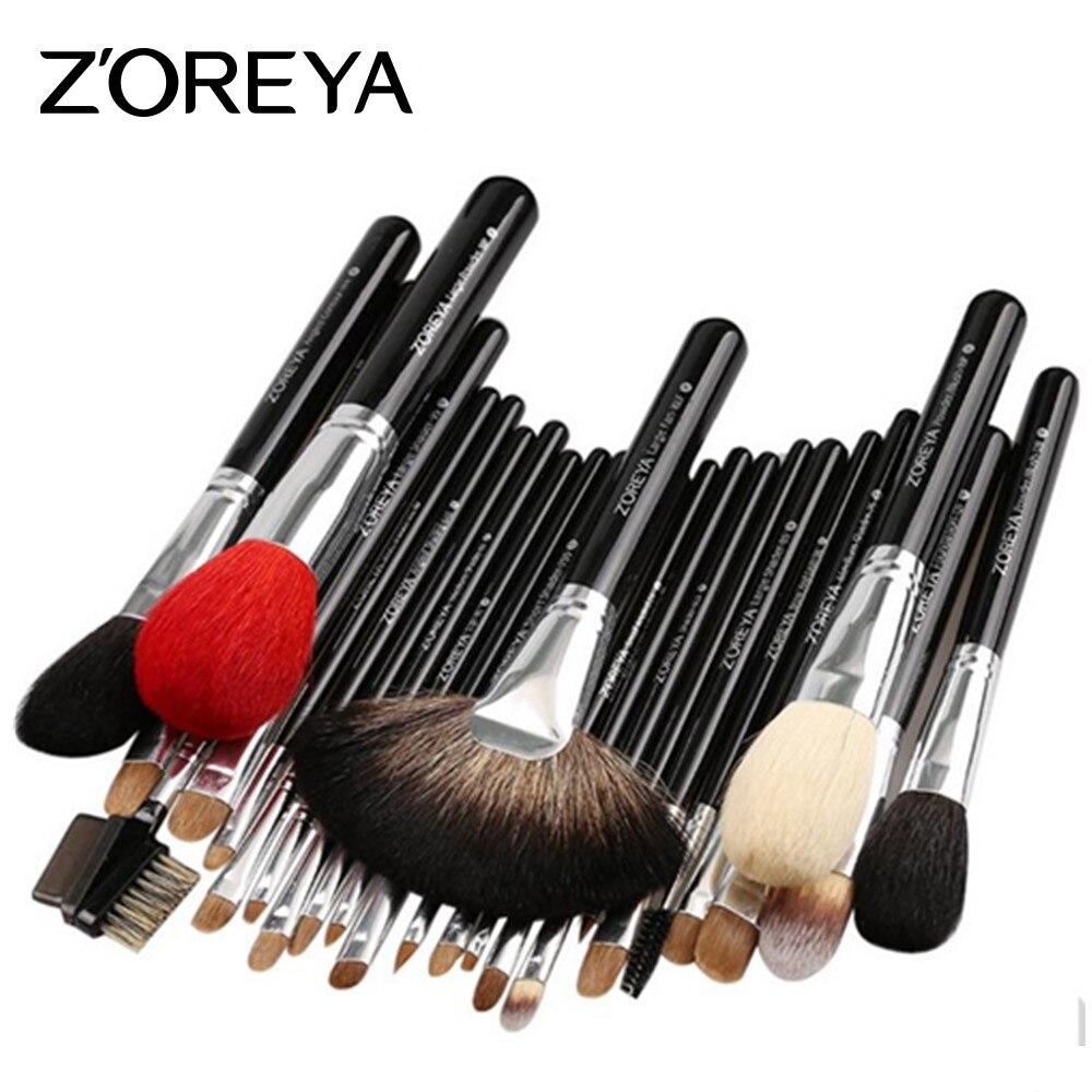ZOREYA 26 шт., набор профессиональных кистей для макияжа, роскошные натуральные козьи волосы, веер, косметический набор кистей для макияжа, красивые кисти для теней