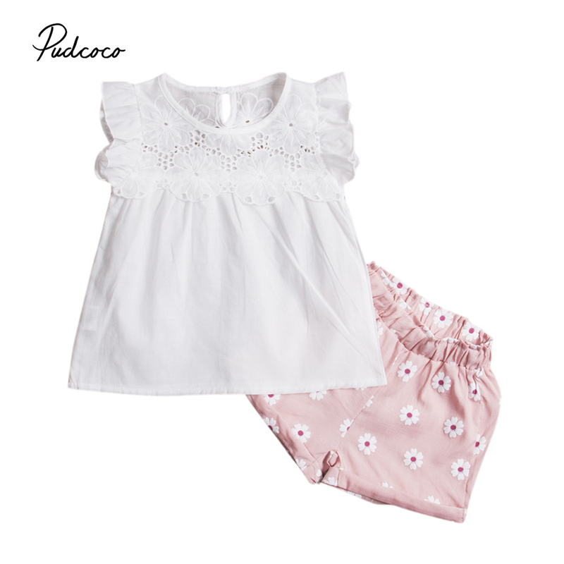 2PCS Girl Cute Summer Kids font b Baby b font Girls Outfits Clothes Set floral lace