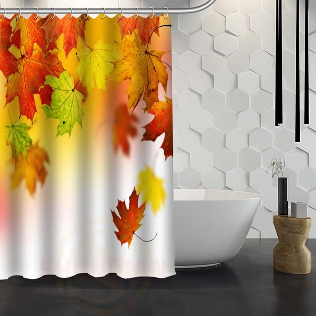 Hot Sale Custom Maple Leaves Autumn Shower Curtain Waterproof Fabric For Bathroom F