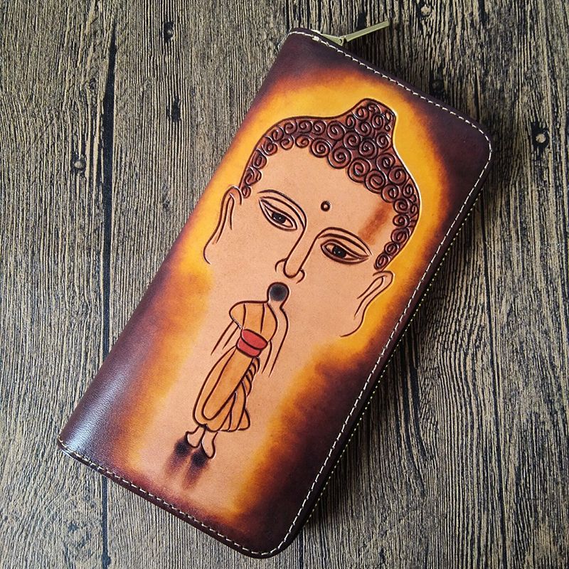 Handmade Women Genuine Leather Card Holder Wallets Carving The Buddha Bag Purses Men Clutch Vegetable Tanned Leather Wallet luxury brand handmade genuine cowhide vegetable tanned leather men wowen long slim wallet wallets purse card holder clutch bag