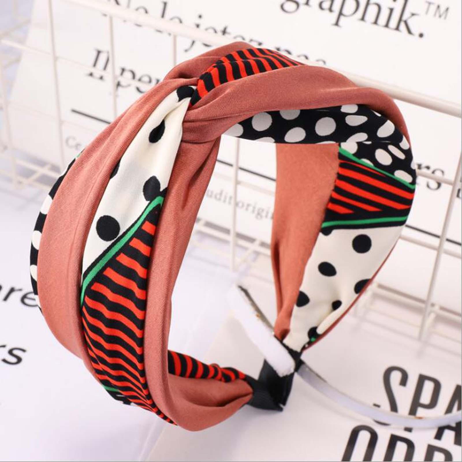 New Wide Side Orange Hairband Cross Knot Headband Hair Band Women Bohemia Point Turban Light Color Accessories