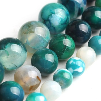 Natural Blue Ice Craked Agates Round Loose Stone Beads for Jewelry Making DIY Bracelets 15'' 6mm 8mm 10mm image
