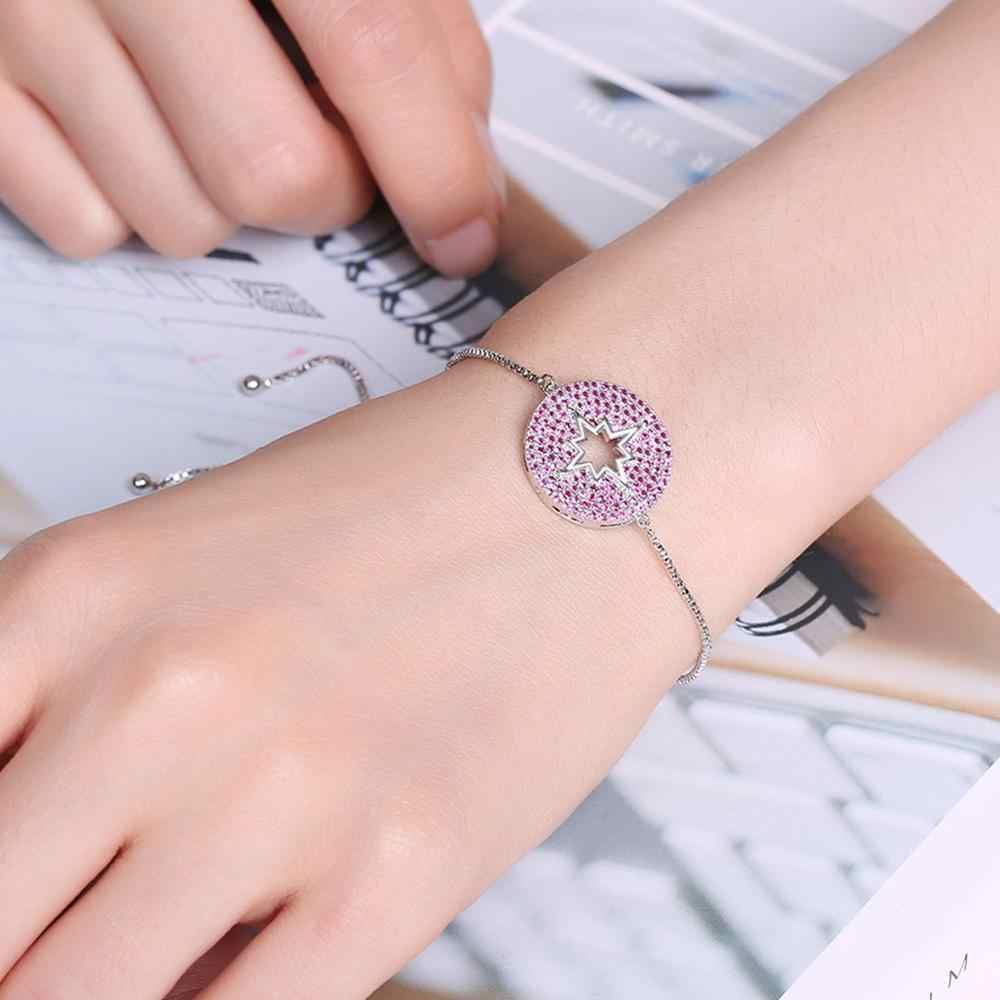 UMODE Винтаж Шарм красные браслеты со звездами австрийский горный хрусталь браслет для женщин белое золото коробка цепочка модные ювелирные изделия UB0099B