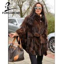FURSARCAR Luxury New Women Natural Real Mink Fur Coat With Stand Collar Bat Sleeved Thick Warm Genuine Fur Poncho For Female