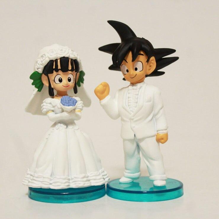 2pcs/set Anime Cartoon Dragon Ball Goku ChiChi Wedding PVC Action Figure Collectible Model Toy 8cm Anime Figure 1