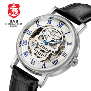 Image 2 - SAS Üst Marka Lüks Erkek mekanik saatler Deri Kayış Erkekler İskelet kol saati Saat relogio masculino