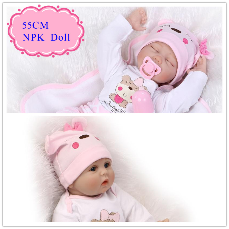 Alive 55cm 22inch Real Silicon Baby Dolls Reborn NPK Brand Bebe Benecas With Rabbit Style Clothes Hot Hobbies Toys For Children 52cm 21inch npk brand kawaii reborn baby dolls made by 100