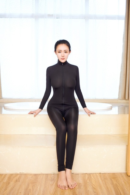 Sexy Shiny 2 Two Way Zipper Open Crotch Bust Transparent Bodysuit Turtleneck Body Stockings Club Wear Sexy Lingerie FX1038