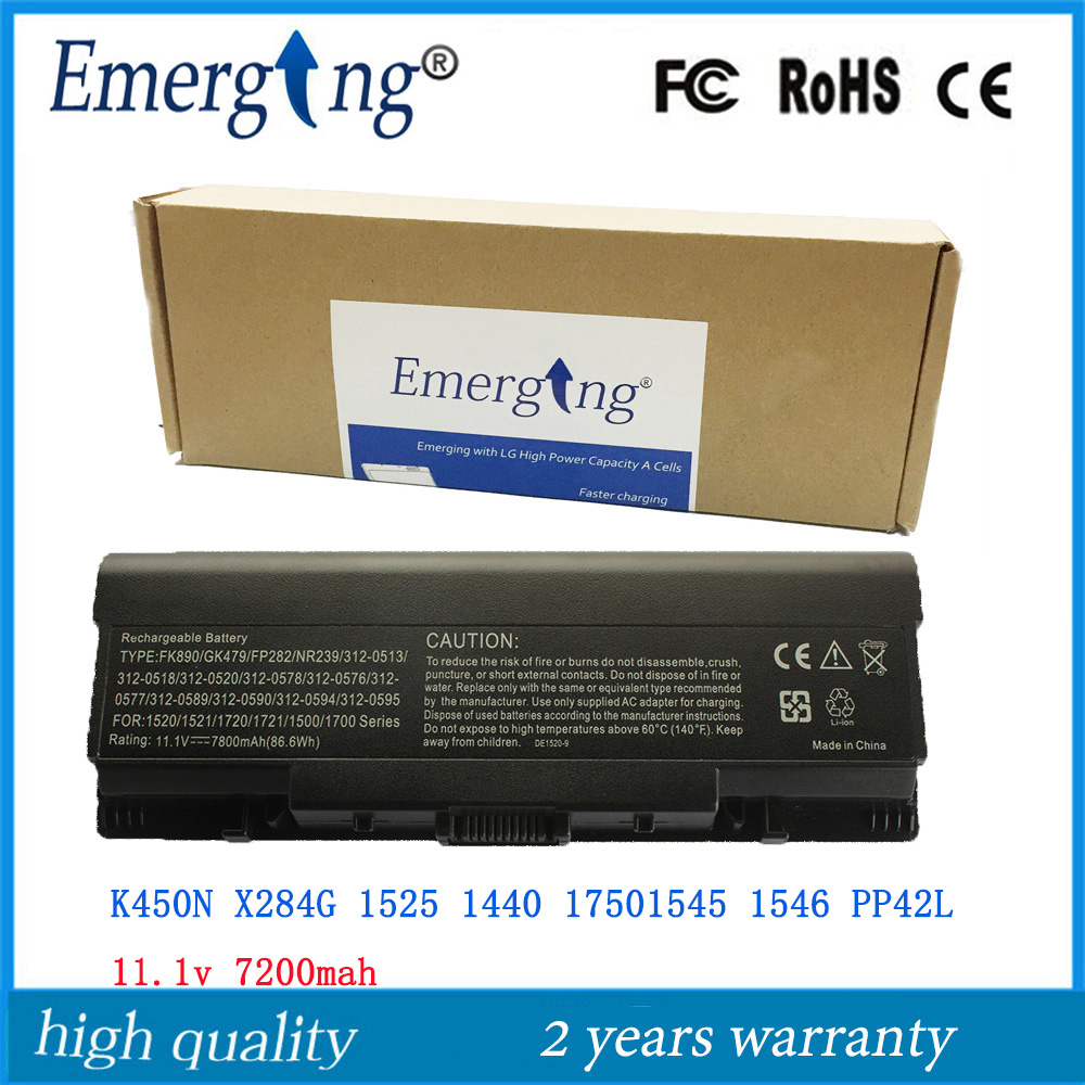 9Cell 11.1v 7800mah High Quality New Laptop <font><b>Battery</b></font> for <font><b>Dell</b></font> <font><b>Inspiron</b></font> 1520 1521 <font><b>1720</b></font> 1721 530s Vostro 1500 1700 DY375 image