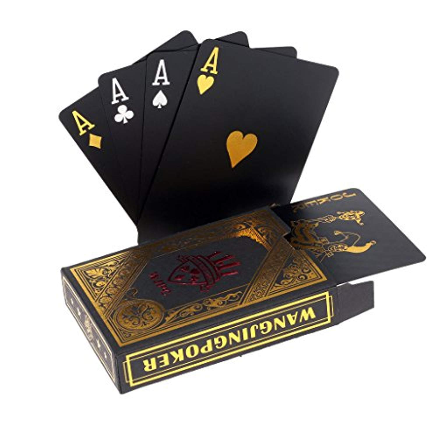 Professional Waterproof Plastic Poker Cards Black Playing Cards Plastic PVC Texas Hold'em Poker Cards