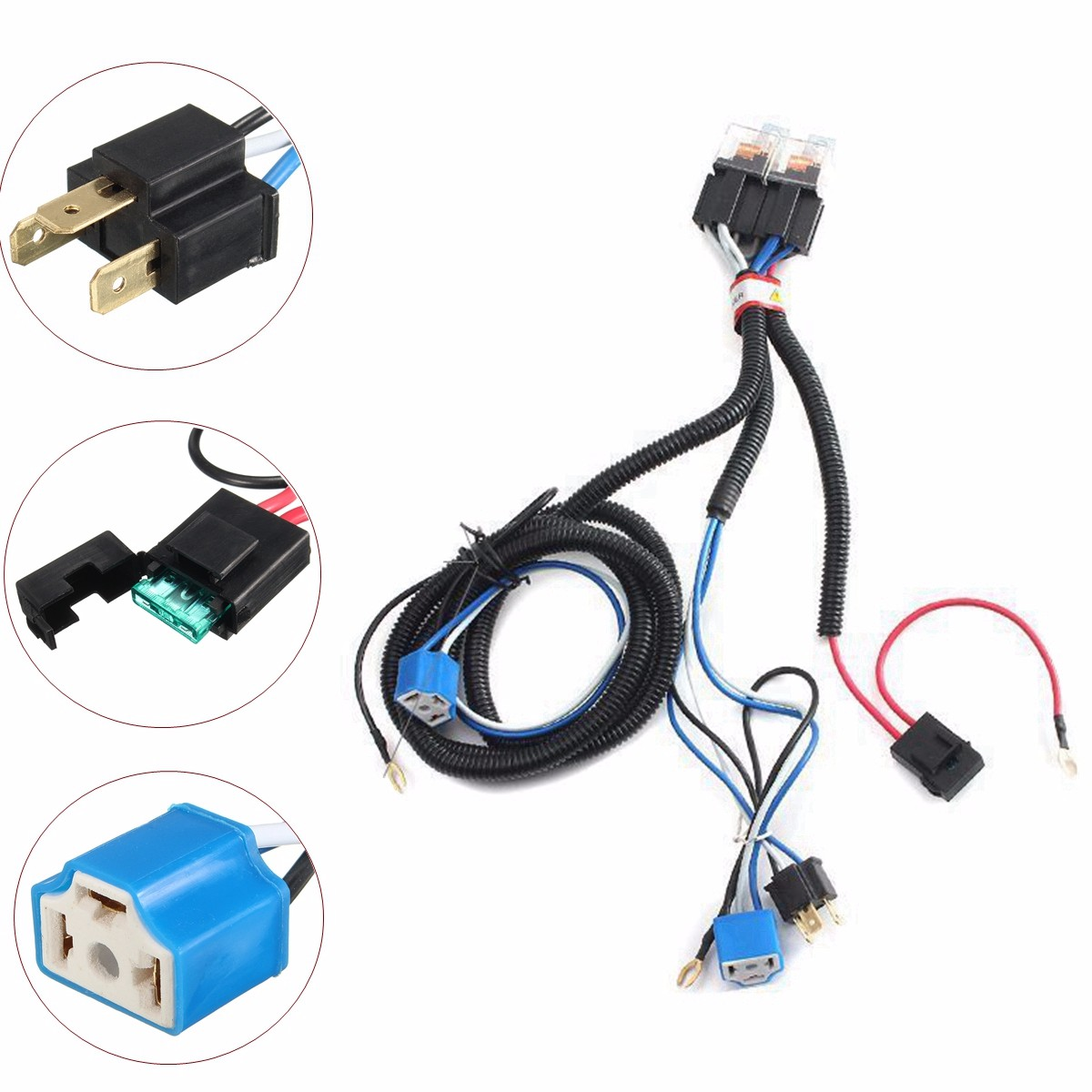 Hot Selling 7 Inch H4 2 Headlamp Relay Wiring Relay Harness Car ...