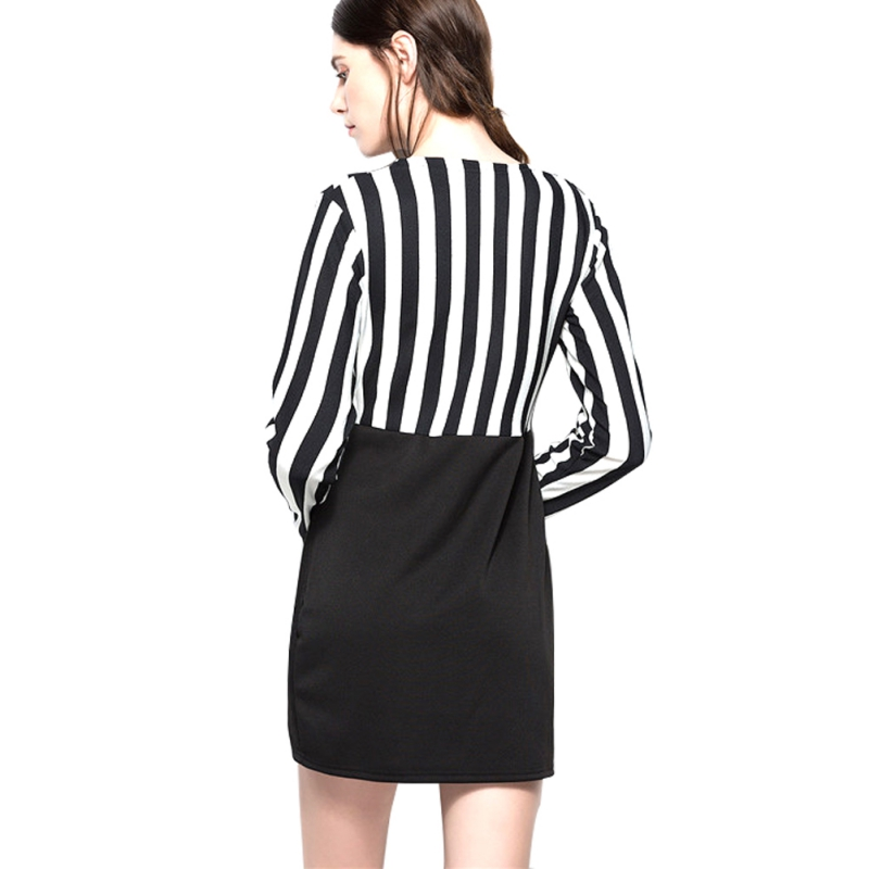 Europe and the United States V-neck striped stitching long-sleeved slim bag hip dress solid black S women clothing 2