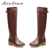 Meotina Winter Women Riding Boots Chunky Low Heel Motorcycle Boots Shoes Zip Buckle Women High Boots Brown Yellow Big Size 9 10