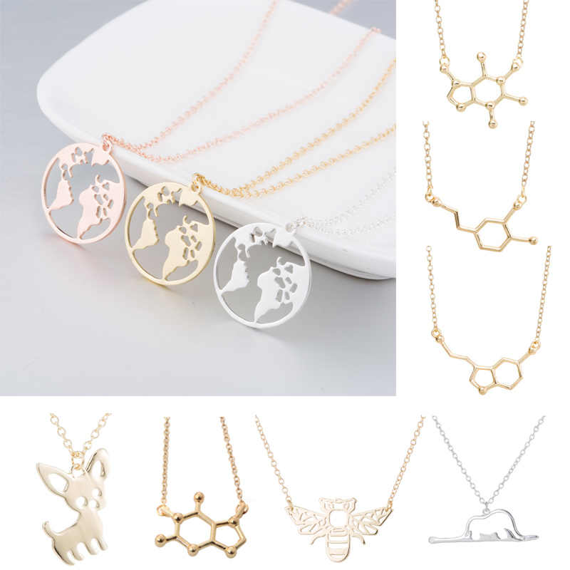 Jisensp Vintage Origami World Map Necklace Women Geometric Bee Necklaces Gold Chain Animal Necklace Circle Necklaces & Pendants