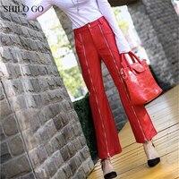 SHILO GO Leather Pants Womens Spring England sheepskin genuine leather Pants high waist lady office long zipper small flare pant