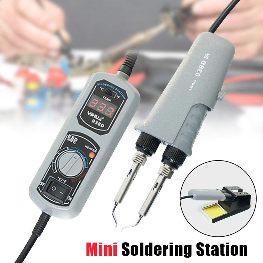 110 В/220 В EU/US/UK PLUG 938D Портативный термопинцеты Мини паяльная станция пинцет для BGA SMD ремонта
