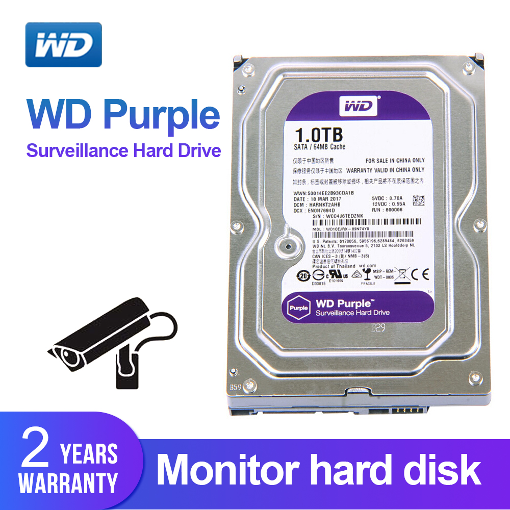 WD Purple 1TB 3.5 Surveillance Hard Drive Disk For Security System WD10EJRX HDD SATAIII DVR CCTV PC HDD Internal Hard DrivesWD Purple 1TB 3.5 Surveillance Hard Drive Disk For Security System WD10EJRX HDD SATAIII DVR CCTV PC HDD Internal Hard Drives