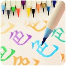 Kawaii Цветной мягкой Platinum Кисти для каллиграфии Пластик Писать Ручкой Кисточки для детей школьные принадлежности Бесплатная доставка 1802