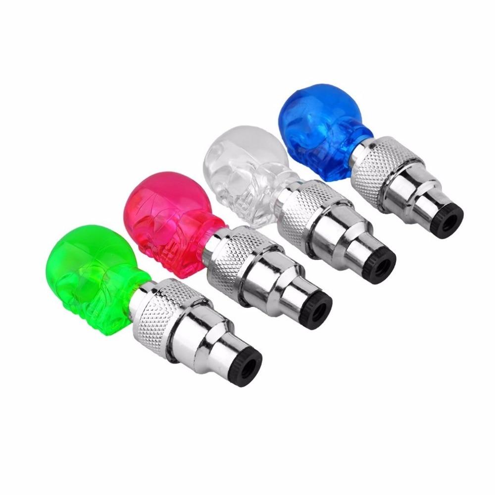 Skull Shape Valve Cap LED Light Wheel Tyre Lamp Colorful Bicycle Accessories For Car Motorbike Bike Wheel Light Traffic Safety
