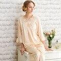 Senhoras Sexy Camisola de Cetim De Seda Pijamas set Noite Nighties Plus Size Nightdress Lace Pijamas Para As Mulheres