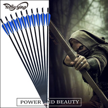 6pc 22 inch Hunting and Targeting High Quality Aluminum Arrows Blue White Feathers Replaceable Arrow Target Archery