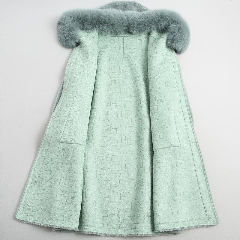Manteau Femelle Renard Veste Z397 Cisaillement À Fourrure Naturel Mode Vison De beige1 Femmes Mint Laine Longue Green Nouveau Capuchon Hiver Poche Réel beige0 vatUzaY