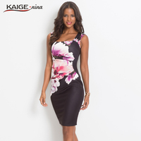KaigeNina Dress Elegant Women Bodycon Dress Chinese Style Printing Cloth Square Collar Knee Length Knitting Cotton