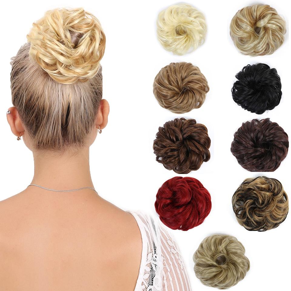 DIFEI Hair bag synthetic hair bun elastic donut hair bag high temperature fiber chignon bun Hair ...