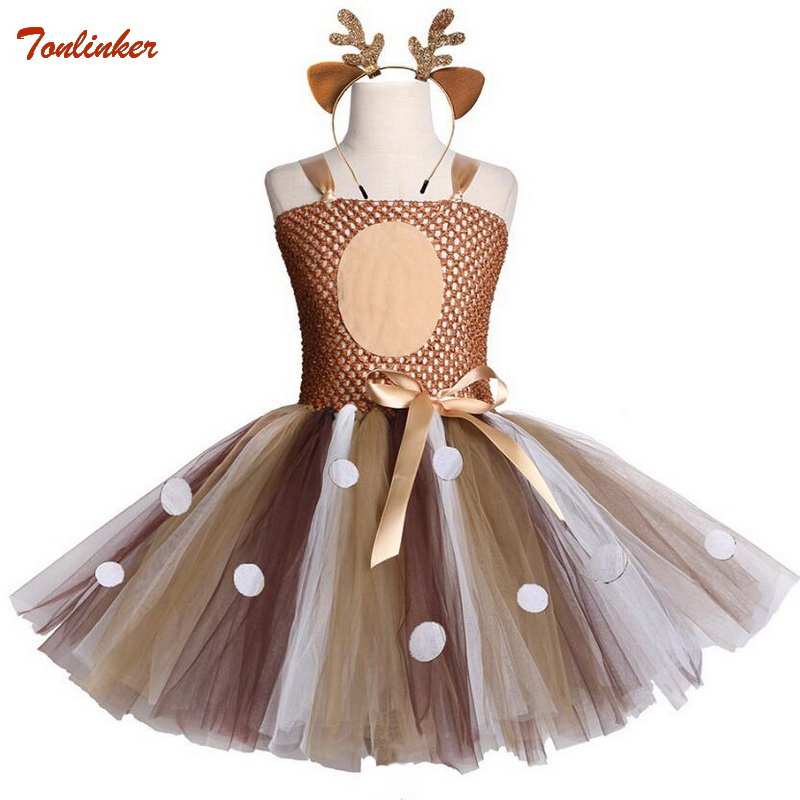 Brown Deer Girls Tutu Dress With Headband Halloween Christmas Deer Costume Kids Tutu Dresses For Girls Birthday Party Dress