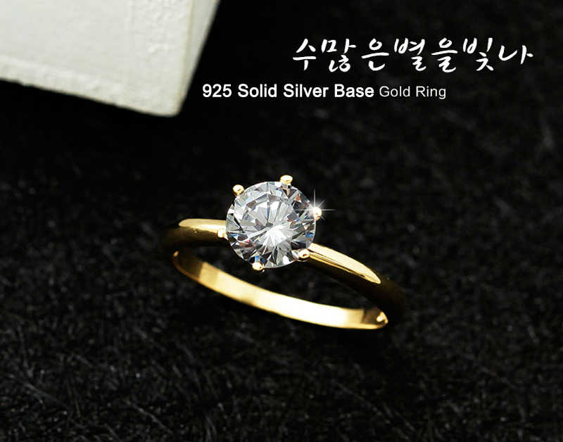 90% OFF! Original 925 Silver Base Then Pure Gold Plating Wedding Ring For Women Round 1 Carat Stone Fine Jewelry Rings Girl Gift