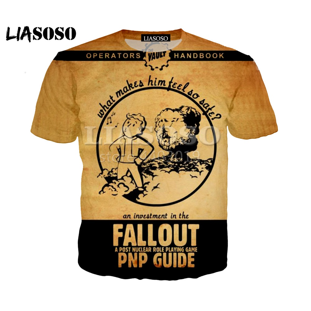 LIASOSO 2018 Summer New T-shirt 3D Color Printing Fallout 4 Game Character Men and women top clothes Brand Clothing SE1077 image