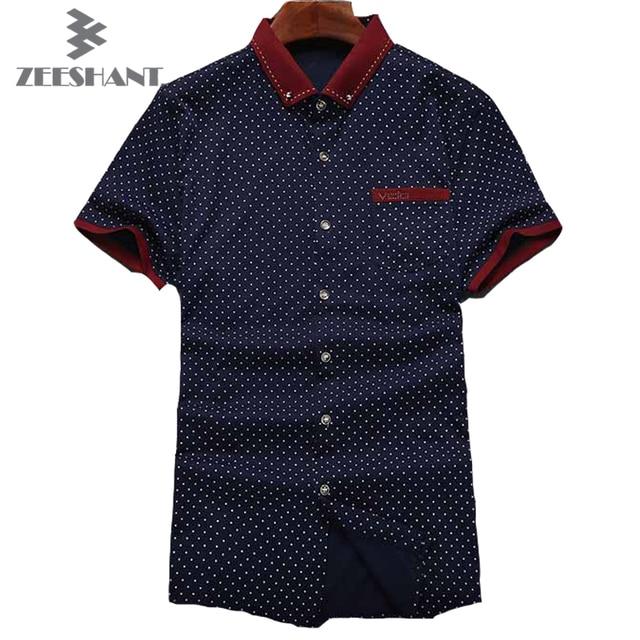 XXXL Casual Slim Fit Polka Dots Men Shirt Chemise Single Breasted Safari Custom Shirt Male Shirt Short sleeve in Men's Shirts
