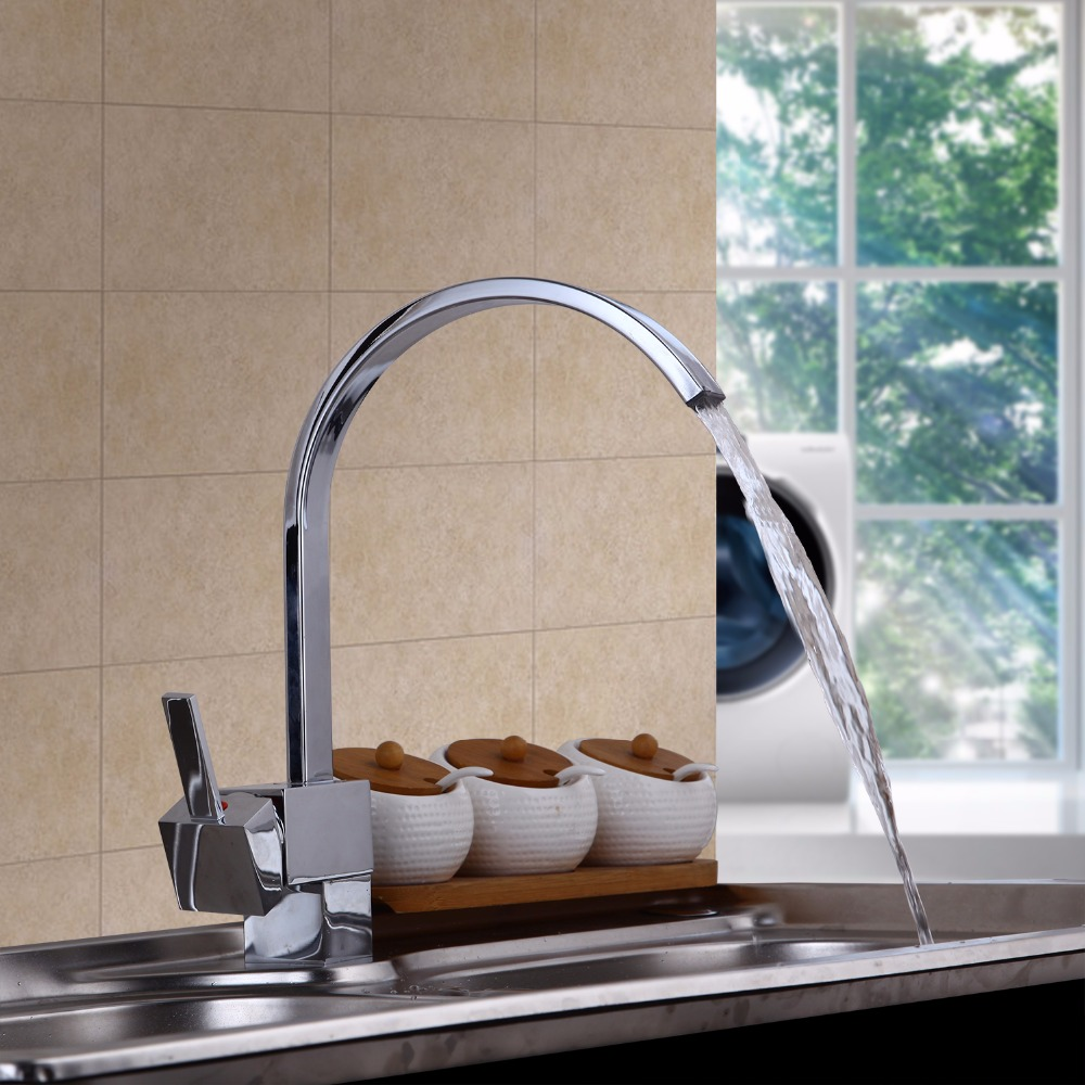 Contemporary Chrome Finish Solid Brass Kitchen Bathroom Faucet Spouts Deck Mount MixerSwivel Kitchen Faucet