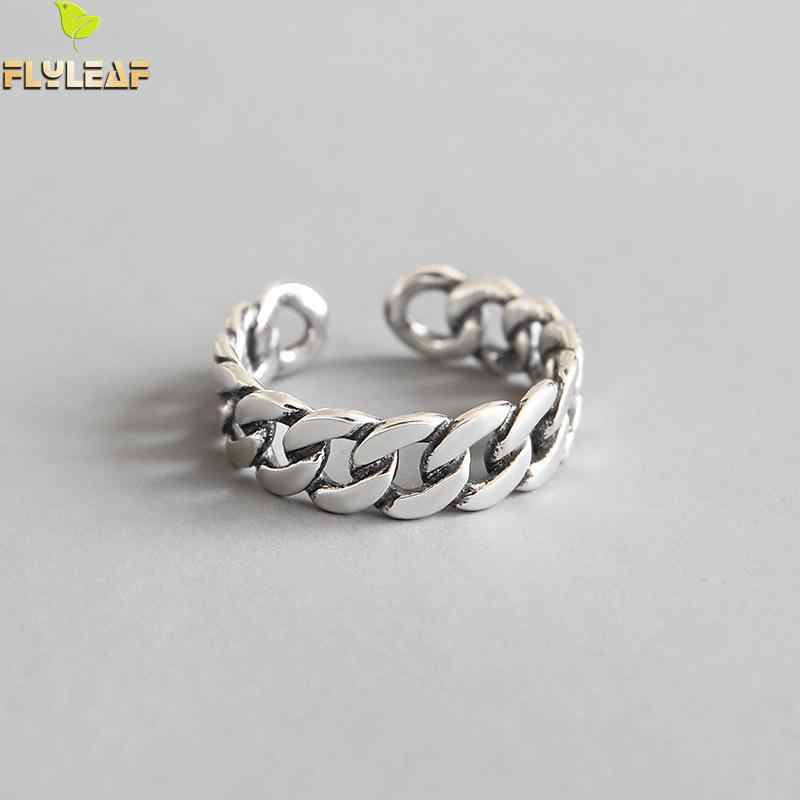 Flyleaf Do The Old Chain Shape Open Rings For Women 2018 New 100% 925 Sterling Silver Lady Vintage Jewelry