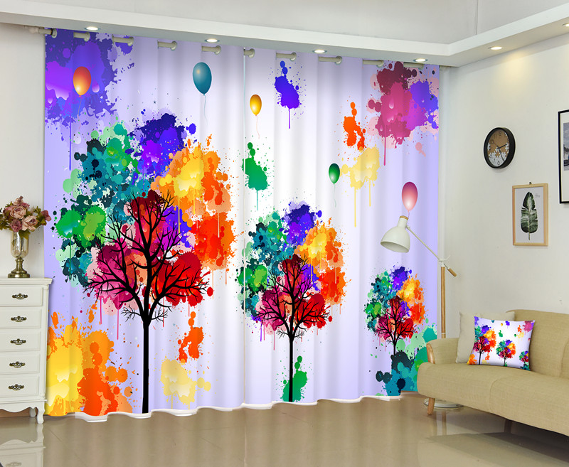 Gorgeous Colorful Curtains 3D Printing Bedding Room Window Curtain 95% Backout Shade Curtain for Hotel Customized Photo Size