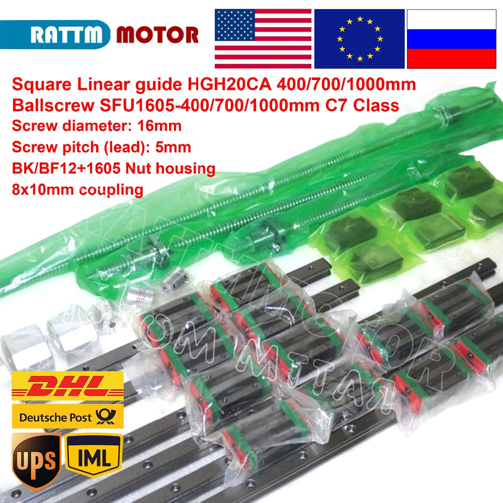 Square Linear guide sets 6pc 400 700 1000mm Kits 3pc Ballscrew 1605 400 700 1000mm with Nut & 3set BK/B12 & Coupling|linear guide set|linear guide|guide linear - title=