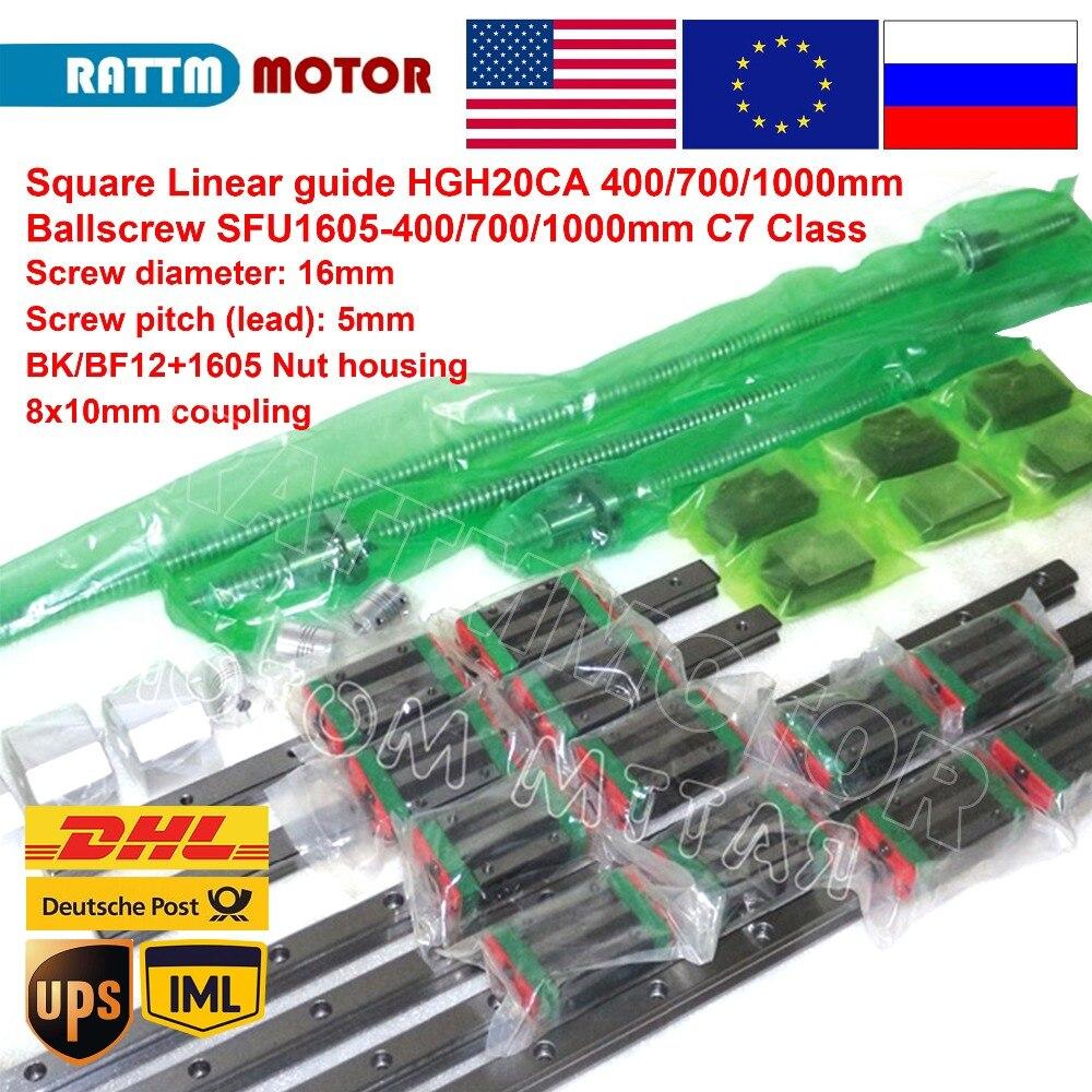 Square Linear Guide Sets 6pc 400 700 1000mm Kits 3pc Ballscrew 1605-400 700 1000mm With Nut & 3set BK/B12 & Coupling