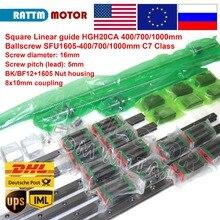 Square Linear guide sets 6pcs 400 700 1000mm Kits 3pc Ballscrew 1605 400 700 1000mm with Nut & 3set BK/B12 & Coupling