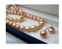 women big Jewelry set Genuine Natural Freshwater Pretty 8 9mm Pink A Akoya Pearl Necklace Earring no box