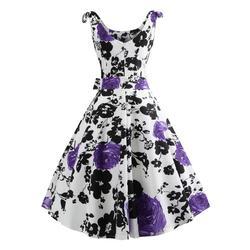 50S Vintage Hepburn Style Rose Print Flare Dress 3