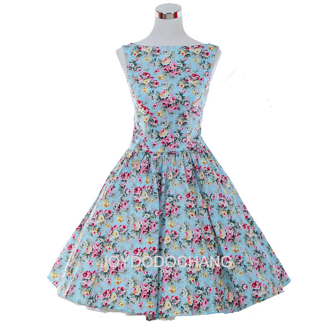 f717e31b54086 Woman Summer 50s 60s Swing Retro Vintage Dress Polka Dot Printed Floral  Dress Audrey hepburn Rockabilly Dress Vestido Robe Sexy-in Dresses from ...